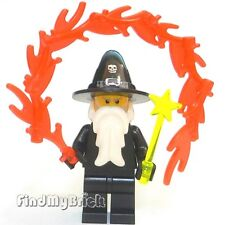 C107 Lego Custom Wizard Minifigure with Magic Wand & Fire Magic - Black - NEW