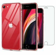 For Apple iPhone SE (2020) Case Clear Slim Gel Cover & Glass Screen Protector