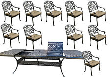 "11 piece outdoor dining set aluminum Elisabeth extendable patio table 48"" x 132"""