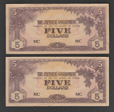 Malaya Japanese 5 Dollars Letter # MC - VF/EF