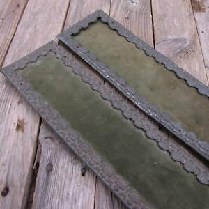 Pair of Rare Antique Green Dralon / Velvet with Metal Border Finger Push Plates