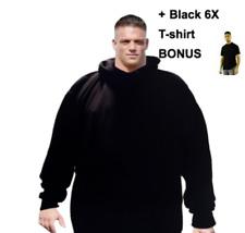 BIG MENS 6X 6XL Hooded Plain Black Sweatshirt Pullover & 6X T-shirt bundle