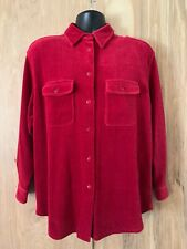 L.L. Bean Red Velour Ribbed Big Shirt Women's Medium