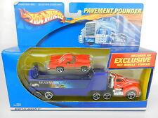 Hot Wheels *PAVEMENT POUNDER* Red SEMI TRUCK w/Ford Thunderbird T-Bird NIB