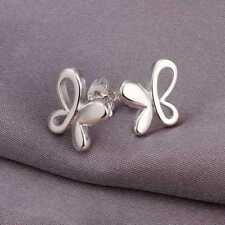 Butterfly Stud Earrings.Pair Of Silver Plated 10mm by 10mm.Womens 925