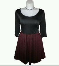 BB DAKOTA size 18 Black Red Dress Plaid 3/4 Sleeve Flare Rayon Poly Sislou S15