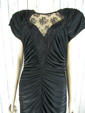 New listing Vintage 80s Black Liquid Slinky Draped Disco Midi Dress Party Prom S/M Open Back