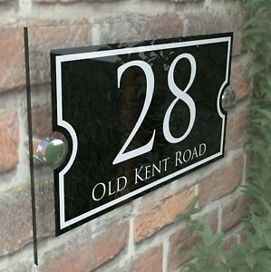 Modern House Signs Plaques Door Numbers 1 - 999 Personalised Name Plate