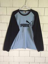 Homme Urbain Rétro Vintage Bleu Puma à manches longues T Shirt Pull Style Femme Taille XL