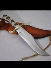CUSTOM HANDMADE D-2 TOOL STEEL STAG/ANTLER FULL TANG HUNTING BOWIE WITH SHEATH