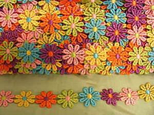 Guipure Large Bright Multi Coloured Daisy Trim  X 2Mts