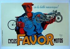 "Vintage French Large ""Cycle Favor Motos"" Poster on Linen"