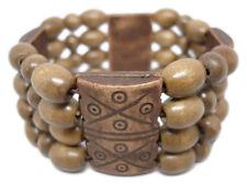 M1041 fashion jewelry 4 rows oval wooden bead chain stretch bangle bracelet