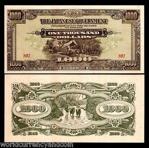 MALAYA 1000 1,000 DOLLARS M-10 1945 x 2 Pcs Lot MALAYSIA UNC JIM JAPAN GOVT NOTE