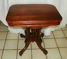 Solid Walnut Carved Parlor Table / Center Table with Burl Walnut Panels  (T169)