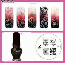 Konad Stamping Nail Art Image Plate M85  +Special Polish GOLD BLACK 12ml