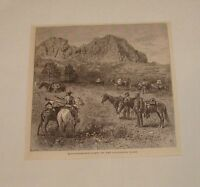 1879 magazine engraving ~ RECONNOISSANCE PARTY, CALIFORNIA COAST