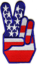 AMERICAN FLAG - PEACE SIGN HAND - IRON ON PATCH