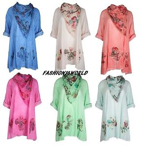 Ladies Lagenlook Cotton Floral Italian Top With Scarf Plus Size