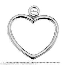 Sterling Silver Heart Charm 15mm Pendant Jewellery Making Findings