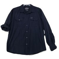 Ecko Unltd Button Front Shirt Mens XL Faded Dark Blue Long Roll Tab Sleeve