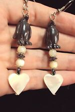 little black Hematite Penguin + white Mother of Pearl heart bead dangle earrings