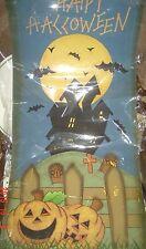 "NEW Halloween Banner 14"" x 30"" Nylon Canvas Hang PUMPKIN Bats Spooky HOUSE RIP"