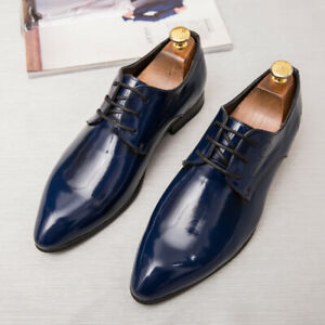 US6-13 Men Patent Leather Lace up Pointy Toe Casual Oxfords Wedding Dress Shoes