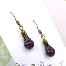 Simple Drop Earrings Purple Stone Beads Bronze