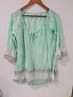 [ MIRACLE ] Women's Tunic Green White Pink Tops Long Sleeve Front Tie | Size M/L