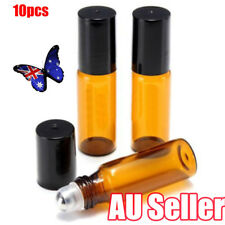 10x 5ml Amber Roll on Glass Bottles Roller Ball for Perfume Essential Oil Prop