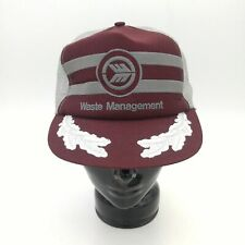 Vintage Waste Management Snap Back Trucker Cap/Hat - Burgundy/Gray
