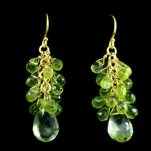 Earrings Green Peridot and Green Amethyst Sterling Silver Yellow Gold Plated