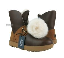 UGG Isley Waterproof Chestnut Leather Fur Pom Pom Boots Womens Size 8 *NIB*