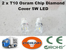 2 x T10 W5W 5W Osram 6000K Xenon Bright White LED Diamond Cover 12V