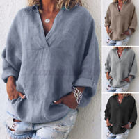 ZANZEA UK Womens Summer Casual Solid V Neck Long Sleeve Loose Tops Blouse Shirts