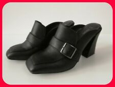 Smart Next Black Square Toe Buckle Mules High Heel Size 5
