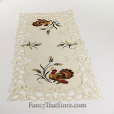 "Thanksgiving Embroidered Turkeys & Scrolls Table Runner 36"" by Wimpole Street"