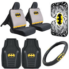 Batman Car Accessory Gift Set - Seat Cover, Floor Mat, Wheel Cover, Sun Shade