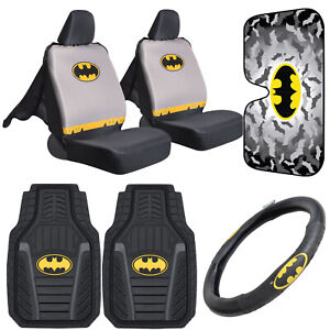 Batman Car Accessory Gift Set - Seat Cover, Floor Mat, Wheel Cover, Sun Shade