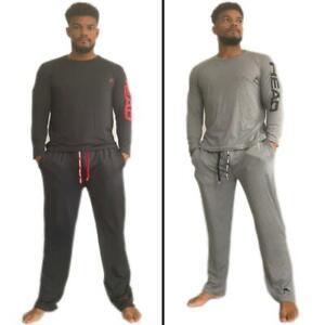 HEAD Mens Loungewear Set 2 PC Long Sleeve Tee Top Open Hem Bottoms Soft Pajamas