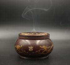 Chinese Antiques Heavy dragon bat brass emblazonry xuande 宣德炉 Incense Burner