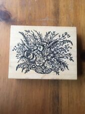 PSX Rubber Stamp K-787 Flower Bouquet in a basket floral spring lily iris tulip