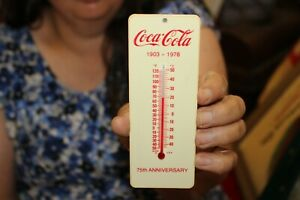 Vintage 75th Anniversary Coca Cola Soda Pop Thermometer Sign NICE