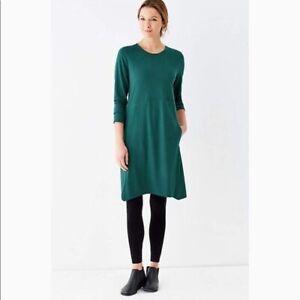 Pure Jill J Jill Sz Medium Harbor Green Dipped Hem Swing Dress