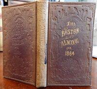 Boston Almanac 1864 folding map period advertising business directory rare book