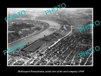 OLD LARGE HISTORIC PHOTO OF MCKEESPORT PENNSYLVANIA AERIAL VIEW OF STEEL Co 1940