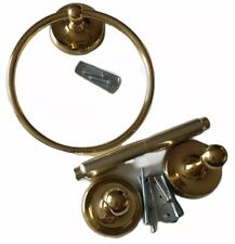 Lot of 2 GATCO Brass Towel Ring Toilet Paper Holder Polished Gold Tone