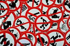 Superb Job Lot of 20 Funny/Rude Warning/Not Permitted Stickers/Decals/Signs
