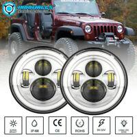 "Pair 7"" Chrome LED Headlights DRL For Jeep Wrangler Custom Unlimited JK TJ LJ CJ"